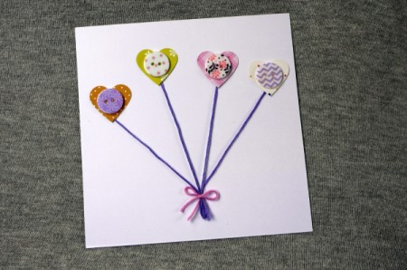 Heart Balloons Greetings Card - finished card