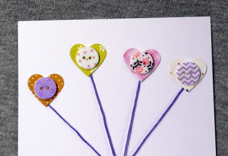Heart Balloons Greetings Card - glue the buttons to the center of the hearts