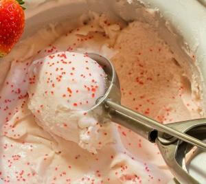Homemade strawberry ice cream.