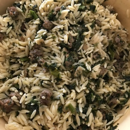 sausage mixture and orzo cooked together