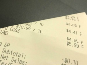 A receipt from a shopping trip