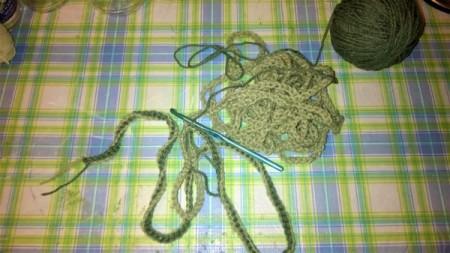 Spiral Yarn Photo Frames - green chain