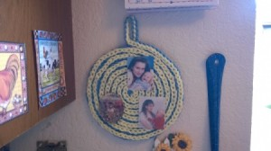 Spiral Yarn Photo Frames - flat spiral with photos