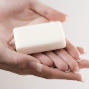 A white bar of soap.