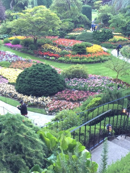 A view from above, overlooking Butchart Gardens in Victoria, BC