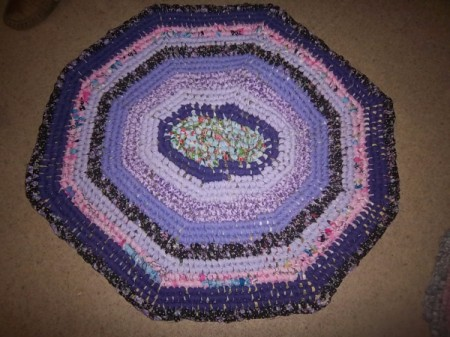 Toothbrush Rag Rug - pink and purple rug