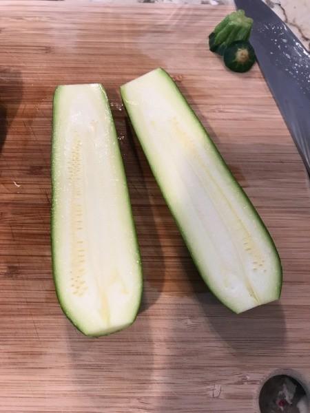 zucchini cut lengthwise
