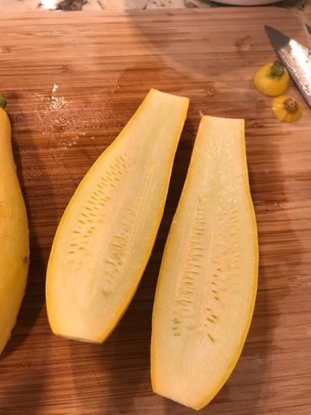 yellow squash cut lengthwise
