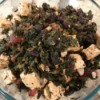 Tofu, Greens and Raisins in a bowl