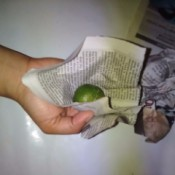 A lemon being wrapped in newspaper for storage.