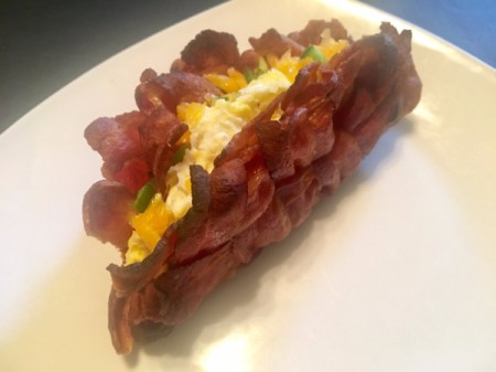 Woven Bacon Shell Breakfast Taco