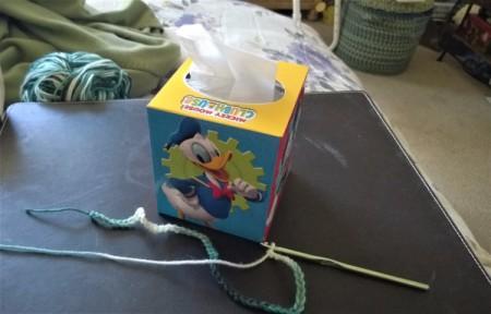Crochet Tissue Box Cover and Bath Decor - crochet a chain to go around the perimeter of box