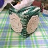 Crochet Tissue Box Cover and Bath Decor - mini dollies attached