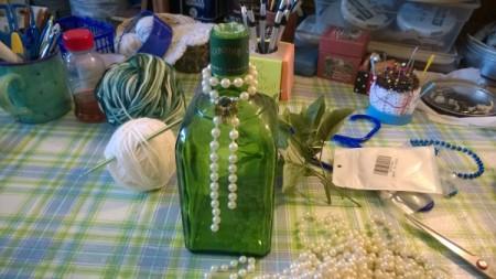 Crochet Tissue Box Cover and Bath Decor - beads around bottle