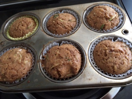 baked Zucchini Muffins in baking tin