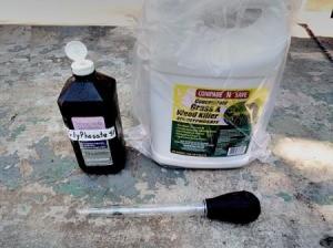 Turkey Baster To Transfer Garden Chemicals - turkey baster and garden chemicals in containers