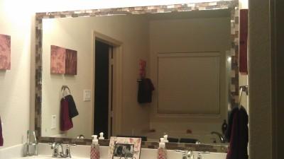 Bathroom Mirror No Screws dressing up a bathroom mirror | thriftyfun