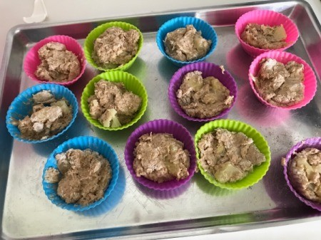 2/3 filled silicon baking cups