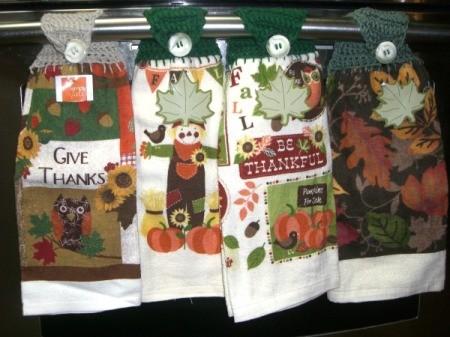 Crocheted Hanging Dish Towels - fall towels