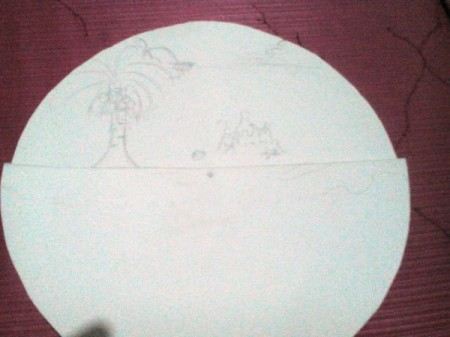 Day and Night Spinning Card - with half piece in place begin drawing your scene