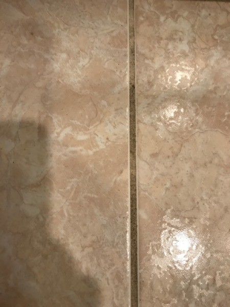 A dirty grout line on a tiled floor.