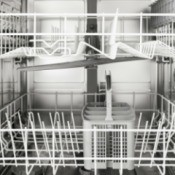 The inside of a clean dishwasher.