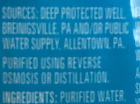 The label on a bottle of Nestle Pure Life water.