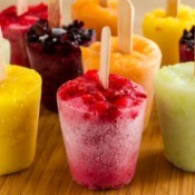 Colorful homemade popsicles.