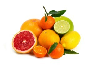 Several types of citrus fruit.