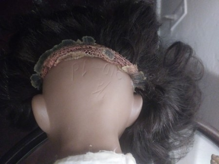 Identifying Markings on Porcelain Dolls - markings on head under wig