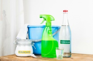 Supplies for making your own homemade cleaning solutions.