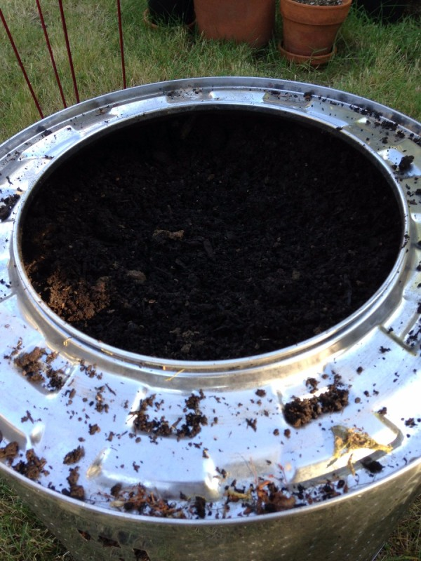 Plant Your Tomato in a Recycled Washing Machine Tub - angled view of tub filled with soil