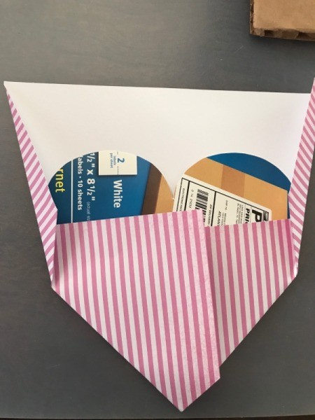 Geometric Paper Heart Decor - and up near the lobes