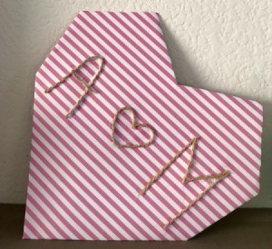 Geometric Paper Heart Decor - finished geometric heart shaped piece of decor