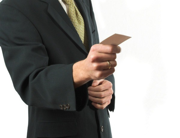 Homemade business cards thriftyfun a man holding a business card colourmoves
