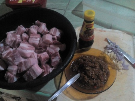 Pork Binaguongan ingredients