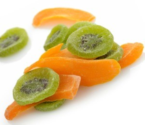 Dried mango and kiwi fruit.