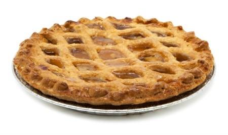 An apple pie with a lattice crust.