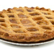 An apple pie with a lattice crust.