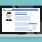 An illustration of a computer screen showing a Facebook profile.