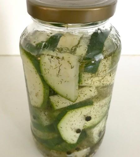 Zucchini Refrigerator Pickles in jar