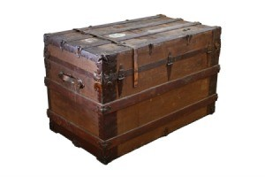 An old wood antique trunk.