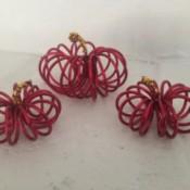 Mini Floral Wire Pumpkins - three pumpkins