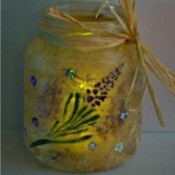 Sweet Lavender Jar Party Light - finished jar with light inside and raffia tied around the neck