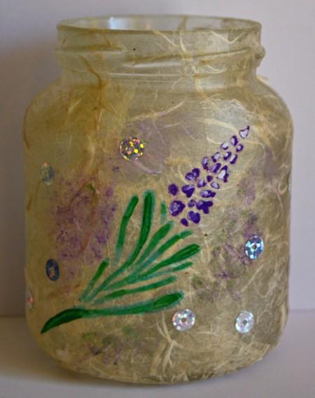 Sweet Lavender Jar Party Light - randomly glue on the sequins