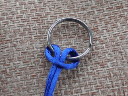 Beaded Key Ring - tie length of cord onto ring