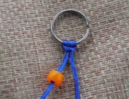Beaded Key Ring - adding first bead