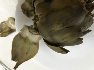 removing Steamed Artichoke leaves