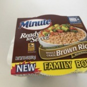 A package of Minute Ready to Serve Brown Rice.