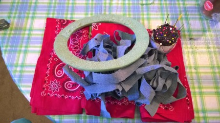 Denim and Bandanna Wreath - supplies